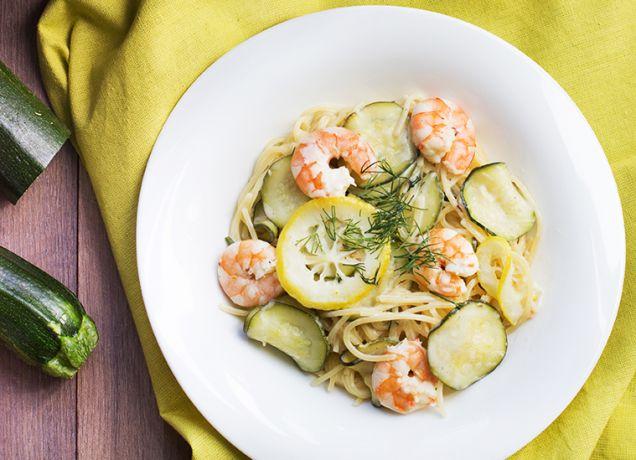 one-pot-pasta-courgettes-crevettes-citron